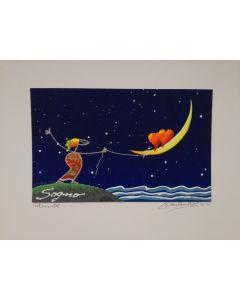 Meloniski da Villacidro, Sogno, serigrafia e collage ritoccata a mano, 20x25 cm