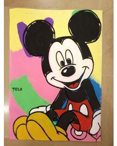 Andrew Tosh, Topolino, acrilico e smalto su carta, 32,5x48 cm