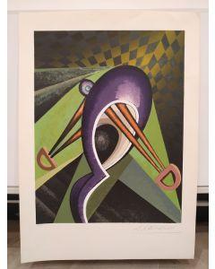 Andrea Raccagni, Alienato nella stanza, serigrafia, 70x50 cm
