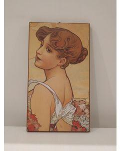 Alfons Mucha, stampa su pannello, 40,5x23 cm