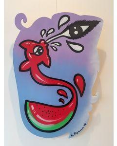 La Pupazza, Anguriapesce, acrilico e spray su tavola, 90x63 cm