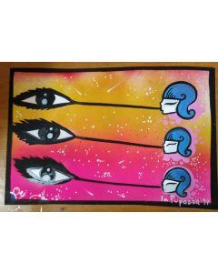 La Pupazza, Donne soffiano le bolle, acrilico e spray su carta, 33x22 cm