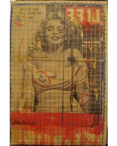 Enrico Pambianchi, Marilyn Monroe, collage, olio, acrilico, matite, gessetti e resine su cartone telato, 22x33 cm