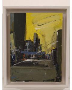 Alessandro Russo, Cantiere giallo, acrilico su carta su tela, 25x19 cm