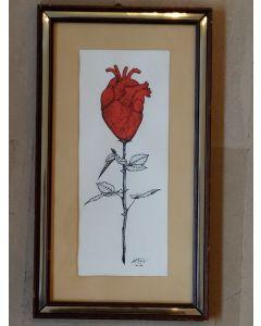 Loris Dogana, Roseheart, inchiostro su carta, 20x36 cm