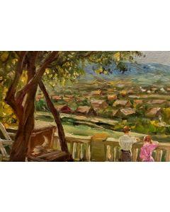 Scuola Francese, Terrazza, olio su tavola, 13x19 cm