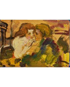 L.K., Amanti, olio su tavola, 11,5x16,5 cm