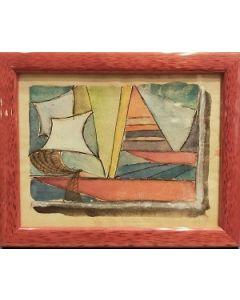 Scuola Cubista, Barca a vela, acquerello su carta, 13x16,5 cm