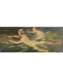 Scuola Francese, Bagnanti, olio su tavola, 8x19,5 cm