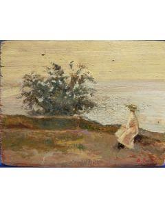 Scuola Francese, La costa al tramonto, olio su tavola, 16,5x22 cm