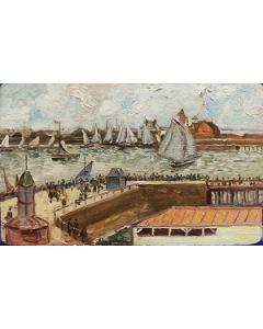 Scuola Francese, Porto, olio su tavola, 12x19,5 cm