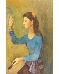 Scuola Francese, Ritratto di ragazza, Olio su tavola, 22x14 cm