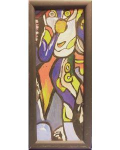 Scuola Cubista, Senza titolo, Olio su tavola, 23x10 cm (con cornice)