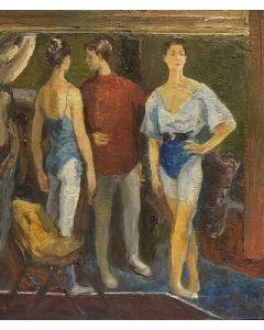 Scuola Francese, Scuola di danza, Olio su tavola, 21x18 cm