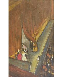 Scuola Francese, A teatro, olio su tavola,  25,5x15 cm