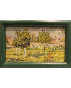 Scuola Francese, Pomeriggio in giardino, Olio su tavola, 23,5x15,5 cm (con cornice)