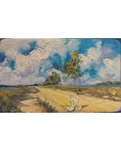 Scuola Francese, Ragazze a passeggio, Olio su tavola, 12x20 cm