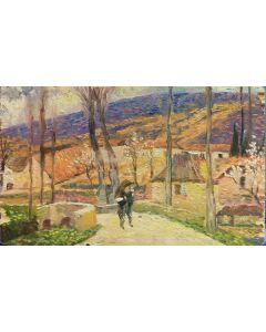 Scuola Francese, Amanti nel borgo, Olio su tavola, 11,5x19,5 cm