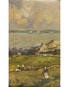 A. Tallone, Contadinelle, Olio su tavola, 20x12 cm