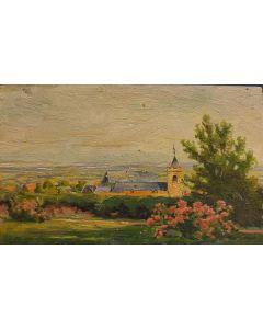Scuola Francese, Campanile, olio su tavola, 12x19 cm