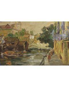 Scuola Francese, Borgo, Olio su tavola, 12x20 cm