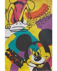 Andrew Tosh, Donald Duck e Mickey Mouse, acrilico e smalto su carta, 33x48 cm, 2020