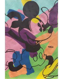 Andrew Tosh, Mickey Mouse, acrilico e smalto su carta, 33x48cm, 2020