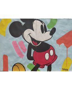 Andrew Tosh, Mickey, acrilico e smalto su carta, 66x48cm, 2020
