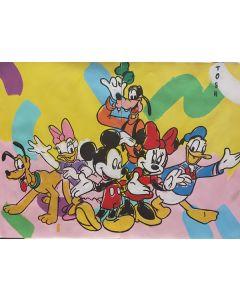 Andrew Tosh, Topolino e i suoi amici, acrilico e smalto su carta, 66x48cm, 2020