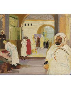 Scuola Francese, Villaggio d'Oriente, olio su tavola, 17,5x20,5 cm