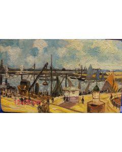 Scuola Francese, Il porto, olio su tavola, 12x20 cm