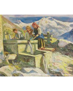 Scuola Francese, Le lavandaie, olio su tavola, 17,5x20,5 cm