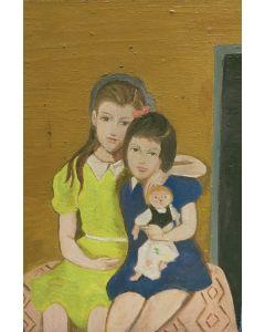 Scuola Francese, Sorelle, olio su tavola, 22x15 cm
