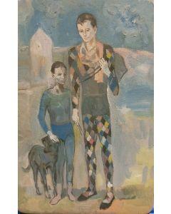 Scuola Espressionista, Periodo Blu, olio su tavola, 24x15,5 cm