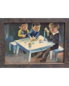 Scuola Espressionista Tedesca, Bambini al tavolo, olio su tavola, 14,5x20 cm