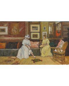 Scuola Francese, Salotto borghese, olio su tavola, 17,5x28 cm