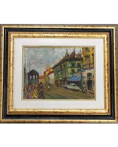 Scuola Francese, Paesaggio urbano, olio su tavola, 22x 38 cm (con cornice)