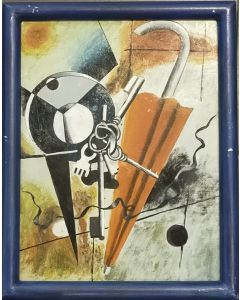 Scuola cubista, Oggetti cubisti, olio su tavola, 29x22 cm (con cornice)
