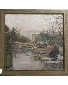 Carlo Achille Cavalieri, Naviglio, olio su tavola, 29x30 cm (con cornice)