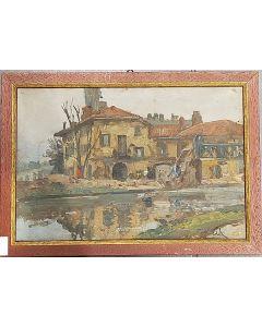 Carlo Achille Cavalieri, Sul Naviglio, tempera su tavola, 23,5x33 cm (con cornice)