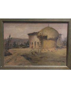 Carlo Achille Cavalieri, Il fienile, olio su tavola, 24,5x33,5 cm (con cornice)