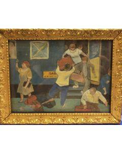 Anonimo, Arrivo del treno, olio su tavola, 17x22 cm (con cornice)