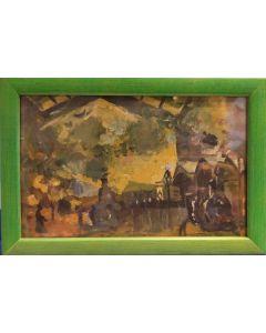 Scuola Francese, Stazione, Olio su tavola, 13x19 cm (con cornice)