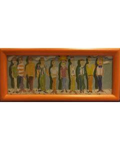 Anonimo, Modelli, tempera su tavola, 10,5x23 cm (con cornice)
