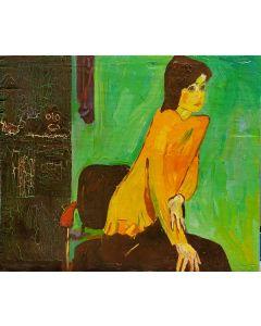 Scuola espressionista, Ritratto di ragazza, olio su tavola, 17,5x21 cm