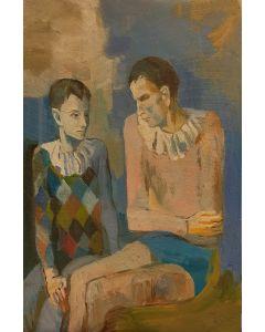 Scuola Espressionista, Periodo Blu, olio su tavola, 23x15 cm
