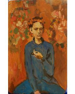 Scuola Espressionista, Ritratto di giovane, olio su tavola, 23,5X15 cm