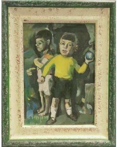 Espressionismo tedesco, Bimbi con palla, olio su tavola, 23,5x18,5 cm (con cornice)