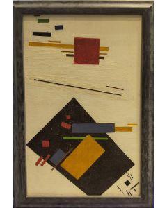 Anonimo, Soggetto astratto, olio su tavola, 27,5x19 cm (con cornice)