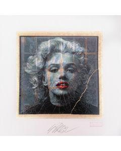 Giuliano Grittini, Marilyn Monroe (bianco e nero), grafica Cracker Art (retouchè), 45x45 cm